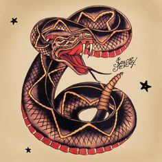 Cool Traditional Snake Tattoo Design