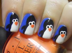 Super cute penguin nails!!