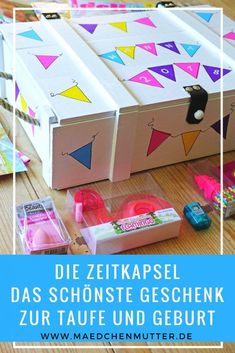 The time capsule / The most beautiful gift for birth and baptism Die Zeitkapsel / Das schönste Geschenk zur Geburt und Taufe – Mädchenmutter The time capsule, the most beautiful gift for the baptism and birth of girls and boys. Diy Gifts For Christmas, Diy Gifts For Kids, Crafts For Kids, Regalo Baby Shower, Baby Shower Gifts, Time Capsule, Mason Jar Crafts, Mason Jar Diy, Cute Diy Crafts