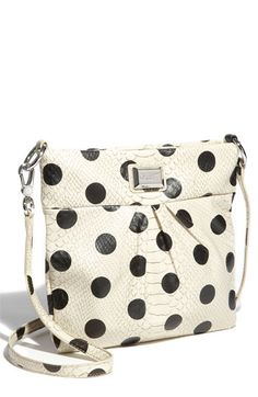 """I need a crossbody bag and I'm obsessed with polka dots right now. This bag is a win-win. Marc by Marc Jacobs ~ """"Dotty Snake Sia"""" faux leather crossbody bag. Marc Jacobs Tasche, Marc Jacobs Crossbody Bag, Marc Jacobs Handbag, Polka Dot Bags, Polka Dots, Little Marc Jacobs, Black Leather Crossbody Bag, Leather Handbags, My Bags"""