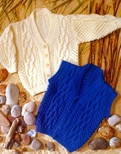 cardigan and waistcoat aran knitting pattern by Heritageknitting1