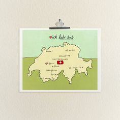 I Love You in Switzerland / Typographic Print, Swedish, Swiss, Map, Where Handsome proposed. Basel, Bern, Country Maps, Unique Wedding Invitations, Different Textures, Love You, My Love, Travel Themes, Nursery Art