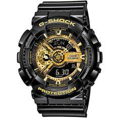 Casio G-Shock GA-110GB-1AER. Dit stoere en gedurfde model heeft een LED-lampje die bij een lichte polsbeweging oplicht. De behuizing is dusdanig vormgegeven dat deze afgeschermd is tegen magnetische straling en natuurlijk is dit horloge schok en trilbestendig.