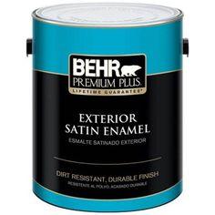 $ 29 - BEHR Premium Plus 1-gal. Ultra Pure White Satin Enamel Exterior Paint - 905001 - The Home Depot.  http://www.homedepot.com/p/BEHR-Premium-Plus-1-gal-Ultra-Pure-White-Satin-Enamel-Exterior-Paint-905001/100163868