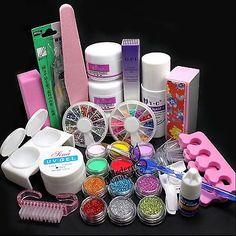 Fashion 21in1 DIY Acrylic Powder Glitter Brush Tip UV Nail Art Tools Set US Ship | eBay