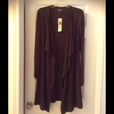 Cute LongCardigan ✨ Longer Length for great Coverage. Chocolate Brown really light weight, perfect for spring. Wear with Jeans & Boots ! Tag says XS but I wear a size 8 and it fits perfect. LTS Jackets & Coats