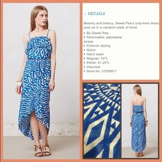 "Anthro ""Ruffled Azul Dress"" by Sweet Pea Removable shoulder straps. Excellent condition. Soft double layered nylon mesh fabrication.  **  Prices are as listed- Nonnegotiable.  I'm happy to bundle to save shipping costs, but there are no additional discounts.  No trades, paypal or condescending terms of endearment  ** Anthropologie Dresses Maxi"
