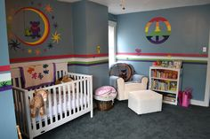 Abiageal's mommy is a bit of a hippie and dreamed of a Grateful Dead room for her baby. The room was already painted that shade of blue wi. Baby Boy Rooms, Little Girl Rooms, Baby Boy Nurseries, Baby Room, Nursery Themes, Nursery Room, Nursery Ideas, Hippie Nursery, Hippie Baby