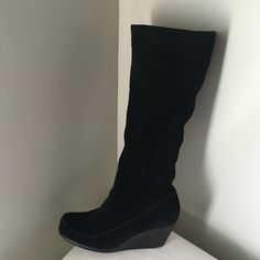 """Black Velvet Feel Knee High Zip Up Wedge Boots I like boots that are comfortable and versatile. And these fit the fashion. Has a suede or velvet feel. It is a leather upper. Wedge heel is 3"""" Shaft is 14.5"""" Calf is 7"""" with some stretch. Miles to go in these. It is a Reposh sadly. Only because I am unable to tolerate heel. Post ankle surgery. AEROSOLES Shoes Heeled Boots"""