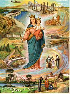 MARIA AUXILIADORA DE LOS CRISTIANOS, imagen y devoción turinesa promovida por San Juan Bosco y traída a Argentina por los Padres Salesianos e Hijas de María Auxiliadora. Es Patrona de la Patagonia.