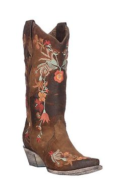 Corral Women's Chocolate/ Rust Suede w/ Floral Embroidery Western Snip Toe Boots | Cavender's