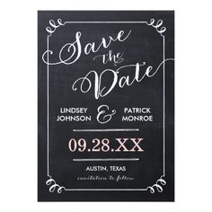 CHALKBOARD SCRIPT MODERN TYPOGRAPHY SAVE THE DATE PERSONALIZED INVITATIONS