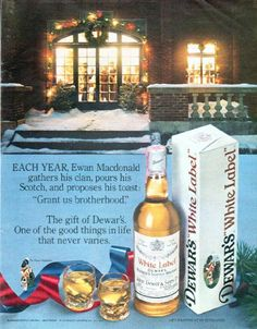 "Description: 1979 DEWAR'S SCOTCH WHISKY vintage magazine advertisement ""Ewan Macdonald"" -- Each year, Ewan Macdonald gathers his clan, pours his Scotch, and proposes his toast: ""Grant us brotherhood."" The gift of Dewar's. One of the good things in life that never varies. ... Dewar's White Label -- Size: The dimensions of the full-page advertisement are approximately 10.25 inches x 13 inches (26 cm x 33 cm). Condition: This original vintage full-page advertisement is in Excellent Condition…"