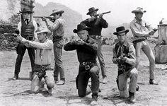 The Magnificent Seven - Yul Brynner, Steve McQueen and Charles Bronso, James Coburn Steve Mcqueen, Robert Vaughn, Movie Blog, Movie Stars, Movie Tv, Movie Theater, Ali Macgraw, Jackie Gleason, Sundance Kid