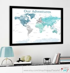 Add your own text. Soft colours and plenty of detail in this map. World map with extra USA details. Aqua and teal Push pin map, Fine Art or Photo Paper or Printable digital download. This map includes the text options in the drop down menu without any additional cost but it's EASY to PERSONALISE your MAP even more : Just add this listing to your shopping cart with details: http://etsy.me/1WaE4l2 - add a HEART to a special location. Custom COLORS and MAP LABELS can also be used…...