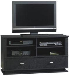 Sauder Meretto Panel Universal TV Stand Ebony Ash