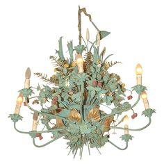 View this item and discover similar for sale at - Elaborate Hand painted tole chandelier with eight lights, gilt accenting and hand painted flowers, berries, shafts of wheat. Wooden Chandelier, Italian Chandelier, Floral Chandelier, Chandelier Pendant Lights, Chandeliers, Flea Market Decorating, Pipe Lighting, Rustic Luxe, Dining Room Walls