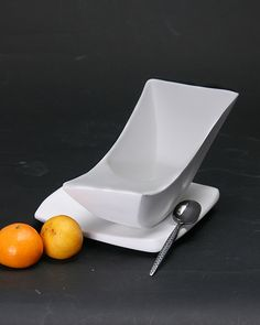 Bowl for a balanced meal.  Will balance when bowl is filled and rock back towards the user as food is taken out.