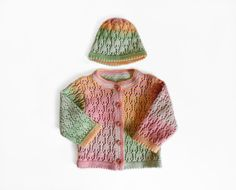Knitted Baby Cardigan and Hat  Peach Pink and by SasasHandcrafts, $44.00