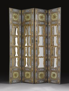 AN OTTOMAN PAINTED AND MIRRORED WOOD SCREEN, TURKEY, LATE 18TH/ EARLY 19TH CENTURY