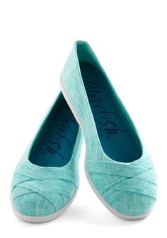 Skip in Your Step Flat in Aqua - Low, Woven, Blue, White, Solid, Spring, Good, Woven, Casual, Variation