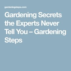 Gardening Secrets the Experts Never Tell You – Gardening Steps