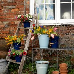 Would be great to find an old ladder and buckets for outdoor entry/backyard flower display for E's party. Backyard Garden Landscape, Small Backyard Gardens, Garden Landscaping, Outdoor Gardens, Backyard Patio, Dig Gardens, Rustic Backyard, Old Ladder, Wooden Ladder
