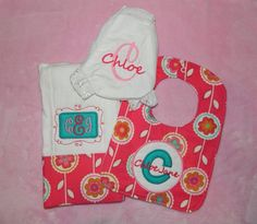 Personalized baby set bib diaper cover and burp cloth