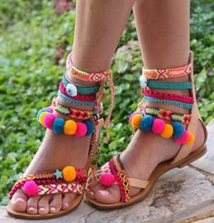 Pom pom 'Let it be' Festival Gladiator Sandals, handmade by Borsis sandalias decoradas Pom Pom Sandals, Cute Sandals, Cute Shoes, Me Too Shoes, Greek Sandals, Bare Foot Sandals, Gladiator Sandals, Boho Shoes, Look Boho