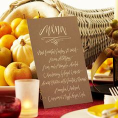 Thanksgiving Dinner Menu Card-print on brown cardstock with gold writing