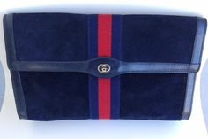 Vintage Gucci navy blue suede leather clutch purse by ALILALIA