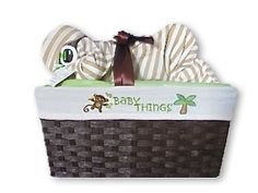 Custom Safari! Diaper Baby Basket Perfect for a baby shower gift, a baby shower centerpiece, a hospital gift or nursery decor.  Want to customize or personalize your gift? Ask us how!  Now offering hospital delivery! www.everythingandthebaby.com