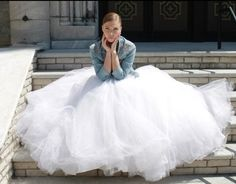 06 city hall bride in a tulle ball gown and a denim jacket - Weddingomania Tulle Balls, Tulle Ball Gown, Ball Gowns, Country Wedding Dresses, Wedding Gowns, Denim Wedding, Denim Jacket With Dress, Bride Hairstyles, Wedding Styles