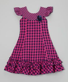 Standing out with bright gingham fabric and fluttery ruffles, this retro-inspired beauty is made in lightweight cotton for a comfy, breathable feel. Dainty angel sleeves and a rhinestone-topped rosette put the final fanciful touches on this darling dress. Little Girl Fashion, Toddler Fashion, Kids Fashion, Fashion Top, Kids Frocks, Frocks For Girls, Little Girl Dresses, Girls Dresses, Toddler Girl Dresses