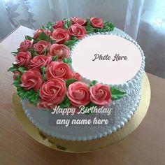 Happy Birthday Flower Cake, Birthday Cake Write Name, Friends Birthday Cake, Birthday Cake Writing, Happy Birthday Cake Pictures, Happy Birthday Greetings Friends, Happy Birthday Wishes Photos, Birthday Wishes Flowers, Happy Birthday Wishes Cake