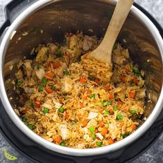 Cook up a batch of Instant Pot fried rice for a quick, easy, and flavorful dinner! With soft scrambled eggs, sesame oil, garlic, soy sauce and chicken it's a crowd pleaser. #instantpot #sweetpeasandsaffron #video Fried Rice, Instant Pot, Fries, Sweet, Easy, Recipes, Candy, Recipies, Ripped Recipes