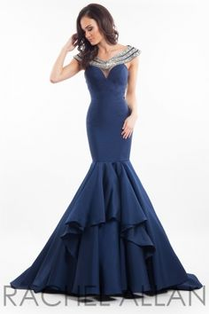 Gorgeous mikado fabric with a detailed off the shoulder neckline. Order today by calling Everything for Pageants at 1-815-782-8877 and ask for our current promotions.