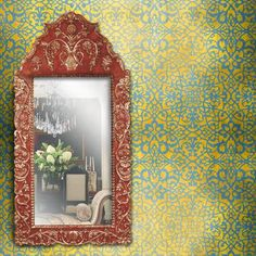 Moroccan Wall Stencils | Palace Trellis Moroccan Stencil | Royal Design Studio - can be done with chalk paint. love it!!!