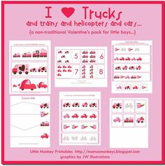 I Love Trucks Printable Preschool Pack