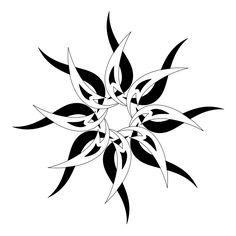 Black & white tribal sun tattoo design
