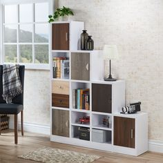 Furniture of America Arla White Multi-Storage Staircase Bookcase/Display Shelf, Brown Step Bookcase, Cube Bookcase, Cube Shelves, Cube Storage, Display Shelves, Display Case, Extra Storage, Bookcase White, Book Storage