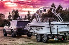 Sunset show with the lovely ladies #cadillac #escalade #tige #wakeboarding