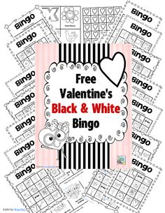 FREE Valentine's Day bingo game for black and white printing, 24 bingo boards, all materials, only available on BuySellTeach