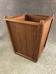 Mid Century Danish Modern Kalmar Teak Wood Trash Can Waste Basket  | eBay