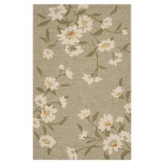 Hand-hooked indoor/outdoor rug with a floral motif.   Product: RugConstruction Material: PolyesterColor: