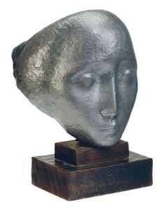 """Humbert  Albrizio - """"Mask no. 4"""", 1956    Stunning hammered lead sculpture featuring the face of a young woman. This piece is listed in the Smithsonian Museum of American Art under control number IAS 9E990025    Reference: HUMBERT ALBRIZIO, Sculpture & Drawings/ Art Gallery and School of Art/ The University of Iowa, 1966, no. 51 : Hammered Lead mounted on original two-tier wood base"""
