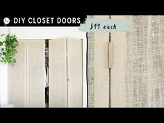 Here's how I made my DIY closet doors for under $50 ! Sharing DIY plans for your own closet doors as well! PHOTO + VIDEO INSTRUCTIONS! Diy Closet Doors, Wooden Closet, Wardrobe Doors, Bamboo Curtains, Diy Curtains, Country Curtains, Apartment Curtains, Diy Room Divider, Room Dividers