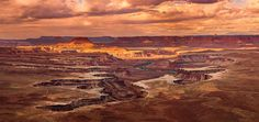 Dramatic sunset at Green River Overlook, Canyonlands National Perk, Utah