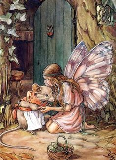 Cicely Mary Barker - Fairy and Mouse. Illustration to the poem 'A Fairy Goes A-Marketing' from 'A Little Book of Rhymes New and Old'. Fairy Dust, Fairy Land, Fairy Tales, Cicely Mary Barker, Art And Illustration, Food Illustrations, Antique Illustration, Botanical Illustration, Fantasy Kunst