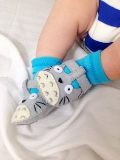 Totoro Baby Shoes, Baby Booties, Baby Slippers, Handmade in Lightweight Felt.